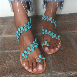 BonBon Greek Sandals with Blue Stones